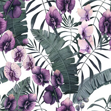 Seamless Pattern Of Watercolor Palm Leaves And Orchids