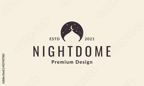 Canvastavla night with dome mosque logo symbol vector icon illustration graphic design