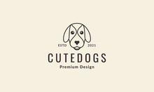 Lines Cartoon Head Dog Cute Logo Symbol Vector Icon Illustration Graphic Design