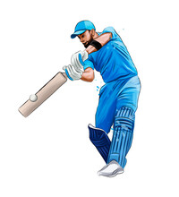 Abstract Batsman Playing Cricket From Splash Of Watercolors, Colored Drawing, Realistic. Vector Illustration Of Paints