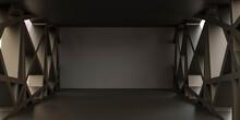 Dark Empty Blank Futuristic Studio Interior Background 3d Render Illustration