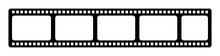 Film Strip Icon. Film Strip Roll Black Icon. Video Tape Photo Film Strip Frame Vector Element Illustration