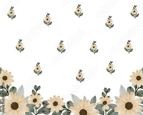 Fototapeta sunflower watercolor arrangement for background