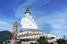 White Buddha Statue At Wat Pha Sorn Kaew.or Wat Phra Thart Pha Kaew Is A Buddhist Monastery And Temple In Khao Kho, Phetchabun, Thailand