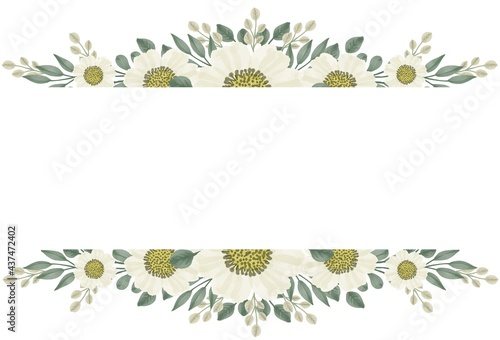 Obraz na plátně arrangement of chamomile watercolors for greeting cards and wedding invitation