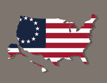 Betsy Ross Flag With Usa Map