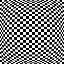 32x28 Convex Race Flag. Vector Black And White Checkered Race Flag Sphere.