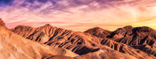 Panoramic View Of The Sandy Hills In Death Valley National Park. Dramatic Colorful Art Render With Sunset Sky. Taken In California, United States Of America.