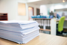 Pile Of Papers, Close-up Heap Overwork Paper Documents Or Reuse Printout On Office Desk Stacked Concepts Of Reduce Recycle And Messy Desk.