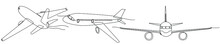 Continuous Line Drawing Set Of Planes Transport Concept Vector Illustration