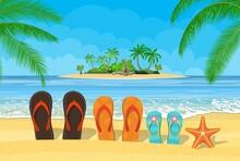 Family Flip Flops Beach With Sea