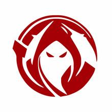 Grim Reaper Logo Design. Simple Grim Reaper Vector Icon.
