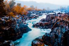 Great Falls Park, Virginia, USA -Potomac River Waterfalls ,Waterfall Autumn Season In Virginia,USA
