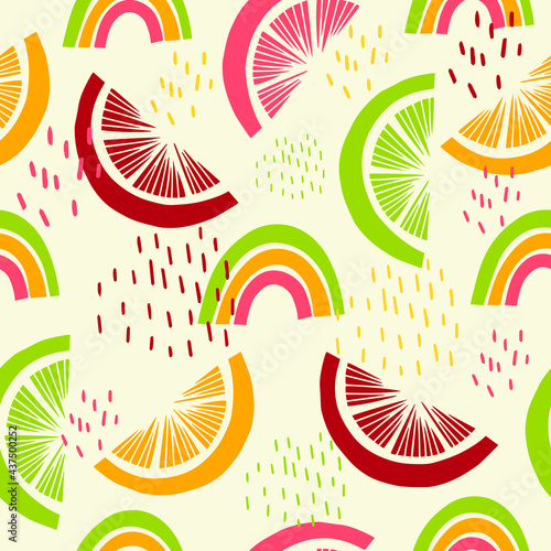 Fotografiet Seamless pattern with tropical fruits