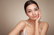 canvas print picture - Portrait beautiful young woman with clean fresh skin. Model with healthy skin, close up portrait. Cosmetology, beauty and spa