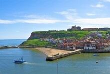 View Of Whitby Harbour, From The North Terrace, West Cliff, Whitby, North Yorkshire, England, In June, 2021, 2.