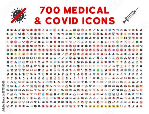 Fotografia, Obraz 700 medical covid icons in flat style