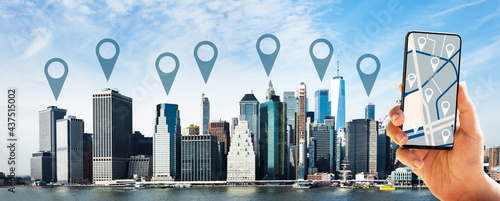 Canvastavla Manhattan Skyline From Hudson River
