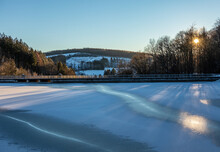 Lake  Jubachtalsperre  In Forest In Winter In Sauerland, Germany