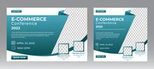 Business Conference Live Webinar Banner Invitation And Social Media Post Template. Business Webinar Invitation Design. Vector EPS