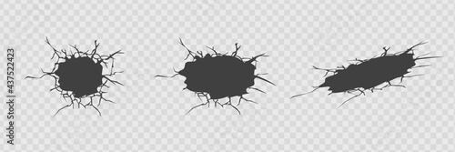 Carta da parati Set of vector cracks isolated on transparent background.