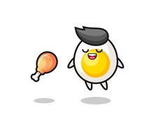 Cute Boiled Egg Floating And Tempted Because Of Fried Chicken