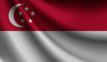 Singapore Flag Waving. Background For Patriotic And National Design. Vector Illustration