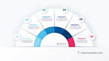 Vector Round Infographic Chart Template In The Form Of Semicircle Divided By Six Parts
