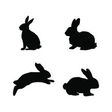 Set Of Rabbits Silhouettes