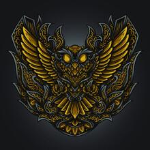 Artwork And T Shirt Design Owl Engraving Ornament