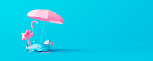 Pink Flamingo And Rubber Shark With Beach Accessories On Blue Background. Summer Vacation Concept. 3D Render 3D Illustration
