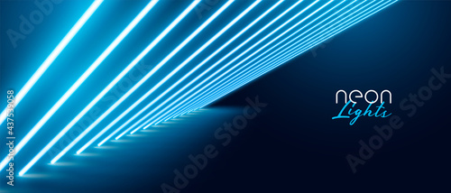 Fotografija blue neon light effect banner design