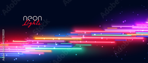 colorful neon led light effect banner