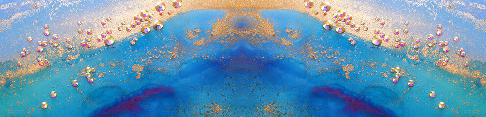 art photography of abstract fluid art painting with alcohol ink blue, aqua, gold colors and crystal rhinestones