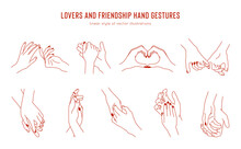 Vector Set Of Linear Holding Hands Gestures, Logo Design Template. Love And Friendship Hands For Tattoo, Print And Sticker Design Elements.  Card Template For Valentines Day.