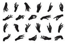 Set Of Various Black Silhouette Woman Hands. Vector Collection Of Female Hands Of Different Gestures. Trendy Minimal Style For Logos, Prints, Designs, Illustrations