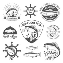 Set Of Vintage Fish Logos With Helm, Sunburst And Salmons