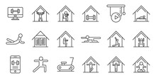 Home Training Icons Set, Outline Style