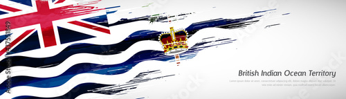 Fotografiet Abstract happy national day of British Indian Ocean Territory with creative wate