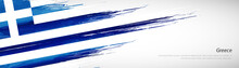 Abstract Happy Independence Day Of Greece With Creative Watercolor National Brush Flag Background