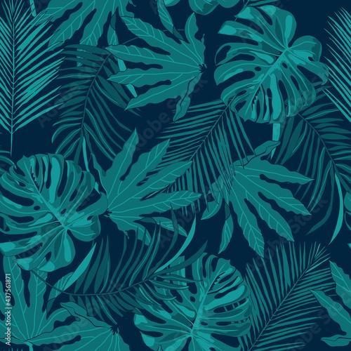Tapety Tropikalne  wzor-z-monstera-i-tropikalnymi-liscmi