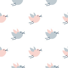 Seamless Pattern With Cute Cartoon Birds, Doodle Style. Hand Drawn Vector Scandinavian Illustration. Design For Baby Textile, Wallpaper Spring, Web, Fabric And Decor