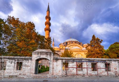 Istanbul, Turkey - Suleymaniye Mosque in Constantinople, Ottoman Empire Fototapet