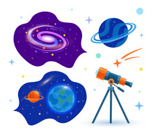 An Astronomical Telescope Looks Into Space. Space. Set. Planets, Stars And Comets Through A Telescope. Vector Flat Illustration