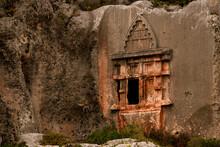 Beautiful Old Lycian Rock Tomb In Antiphellos Ancient City At Location Kas, Antalya