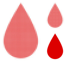 Blood Drop Halftone Dotted Icon. Halftone Pattern Contains Round Points. Vector Illustration Of Blood Drop Icon On A White Background.