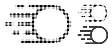 Light Motion Halftone Dotted Icon. Halftone Pattern Contains Round Points. Vector Illustration Of Light Motion Icon On A White Background.