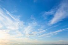 A Beautiful Blue Sky And Streaky Clouds Like Heaven. Summer Blue Sky