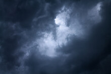 Atmosphere Of Overcast Dusk Sky Before To Rainy. Moody Natural Weather Background. Dramatic Storm Cloudy And Dark Sky. Dark Clouds Over Sunset Sky.