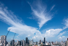 Storm Clouds Build Over The Thong Lo District In Downtown Bangkok, Thailand